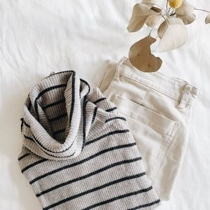 Madewell Gray Stripe Ribbed Turtleneck Sweater